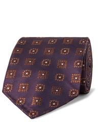 dunkellila bedruckte Krawatte von Drake's