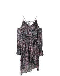 dunkellila bedrucktes schulterfreies Kleid von IRO