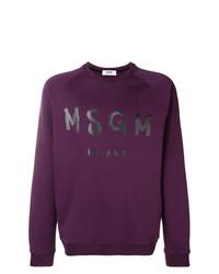 dunkellila bedrucktes Sweatshirt von MSGM