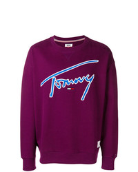 dunkellila bedrucktes Sweatshirt von Tommy Jeans