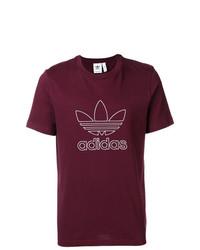 dunkellila bedrucktes T-Shirt mit einem Rundhalsausschnitt von adidas