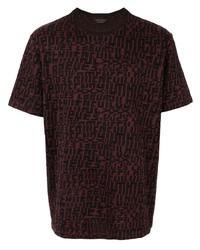 dunkellila bedrucktes T-Shirt mit einem Rundhalsausschnitt von Ermenegildo Zegna