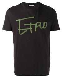 dunkellila bedrucktes T-Shirt mit einem Rundhalsausschnitt von Etro