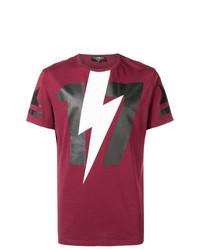 dunkellila bedrucktes T-Shirt mit einem Rundhalsausschnitt von Hydrogen