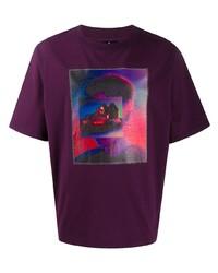 dunkellila bedrucktes T-Shirt mit einem Rundhalsausschnitt von Marcelo Burlon County of Milan
