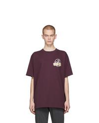 dunkellila bedrucktes T-Shirt mit einem Rundhalsausschnitt von Off-White