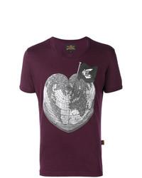 dunkellila bedrucktes T-Shirt mit einem Rundhalsausschnitt von Vivienne Westwood Anglomania