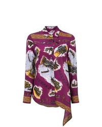 dunkellila bestickte Bluse mit Knöpfen von Golden Goose Deluxe Brand