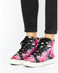 dunkellila hohe Sneakers mit Blumenmuster von Ted Baker