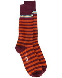 dunkellila horizontal gestreifte Socken von Paul Smith
