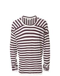 dunkellila horizontal gestreifter Pullover mit einem Rundhalsausschnitt