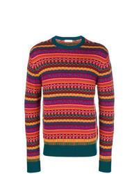 dunkellila horizontal gestreifter Pullover mit einem Rundhalsausschnitt von Etro