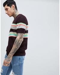 dunkellila horizontal gestreiftes T-Shirt mit einem Rundhalsausschnitt aus Netzstoff von ASOS DESIGN