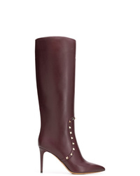 dunkellila kniehohe Stiefel aus Leder von Valentino