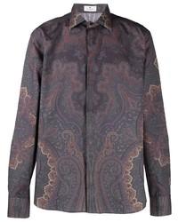 dunkellila Langarmhemd mit Paisley-Muster von Etro