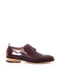 dunkellila Leder Derby Schuhe