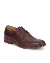 Dunkellila Leder Derby Schuhe von Ben Sherman