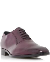Dunkellila Leder Oxford Schuhe