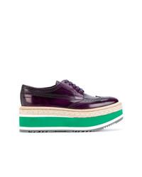 dunkellila Leder Oxford Schuhe von Prada