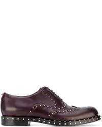 dunkellila Leder Oxford Schuhe von Valentino