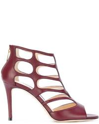 dunkellila Leder Sandaletten von Jimmy Choo