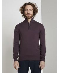 dunkellila Pullover mit einem Reißverschluss am Kragen von Tom Tailor