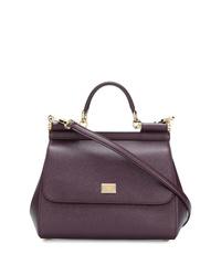 dunkellila Satchel-Tasche aus Leder von Dolce & Gabbana