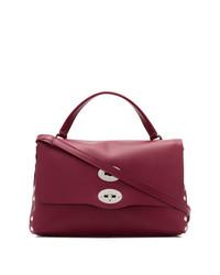dunkellila Satchel-Tasche aus Leder von Zanellato