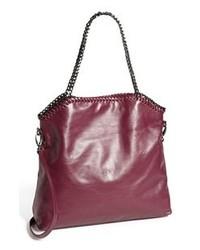 dunkellila Shopper Tasche aus Leder