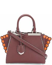 dunkellila Shopper Tasche aus Leder von Fendi