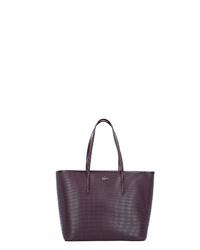 dunkellila Shopper Tasche aus Leder von Lacoste