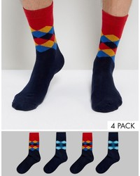 dunkellila Socken mit Argyle-Muster von Jack and Jones