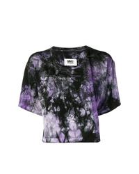 dunkellila Mit Batikmuster T-Shirt mit einem Rundhalsausschnitt von MM6 MAISON MARGIELA