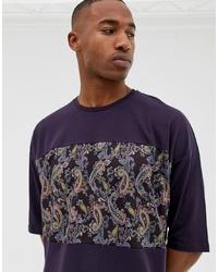 dunkellila T-Shirt mit einem Rundhalsausschnitt mit Paisley-Muster von ASOS DESIGN