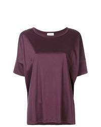 dunkellila T-Shirt mit einem Rundhalsausschnitt
