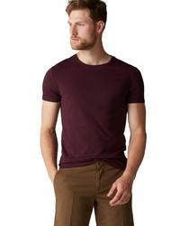 dunkellila T-Shirt mit einem Rundhalsausschnitt von Marc O'Polo