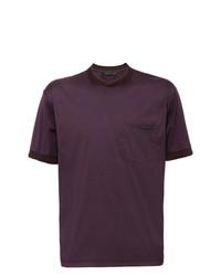 dunkellila T-Shirt mit einem Rundhalsausschnitt von Prada