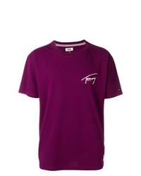 dunkellila T-Shirt mit einem Rundhalsausschnitt von Tommy Jeans