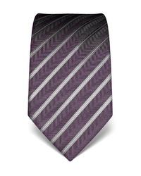 dunkellila vertikal gestreifte Krawatte von Vincenzo Boretti