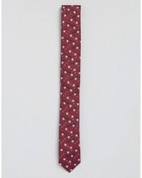 dunkelrote bedruckte Krawatte von Asos