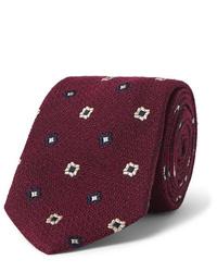 dunkelrote bedruckte Krawatte von Drake's