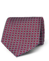 dunkelrote bedruckte Krawatte von Ermenegildo Zegna