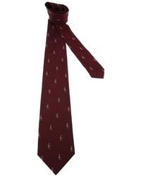 dunkelrote bedruckte Krawatte von Polo Ralph Lauren