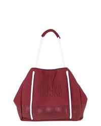 dunkelrote bedruckte Shopper Tasche aus Leder von Duskii
