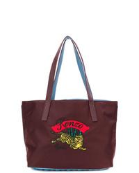 dunkelrote bedruckte Shopper Tasche aus Leder von Kenzo