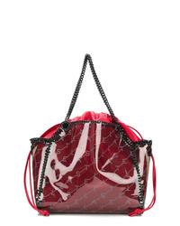 dunkelrote bedruckte Shopper Tasche aus Leder von Stella McCartney