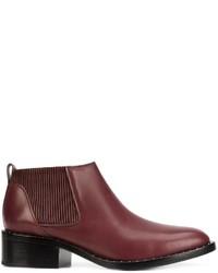 dunkelrote beschlagene Chelsea-Stiefel aus Leder von 3.1 Phillip Lim