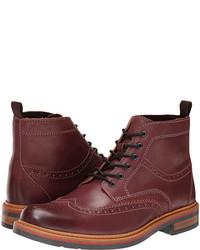 dunkelrote Brogue Stiefel aus Leder