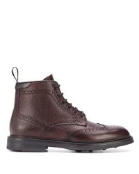dunkelrote Brogue Stiefel aus Leder von Canali