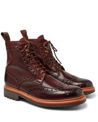 dunkelrote Brogue Stiefel aus Leder von Grenson